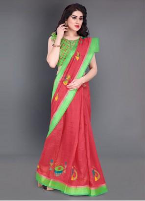 Border Cotton Casual Saree in Red