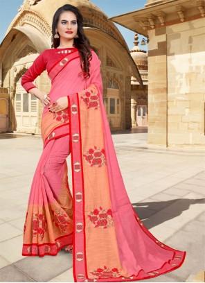 Pink Border Cotton Designer Saree