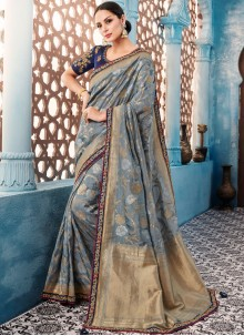 Grey Tafeta Silk Border Designer Saree