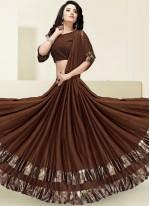Border Fancy Fabric Designer Saree in Brown