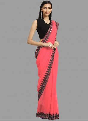 Border Faux Georgette Trendy Saree in Pink