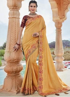 Border Faux Georgette Yellow Classic Designer Saree