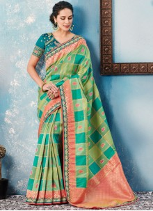 Border Green Designer Saree