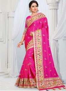 Border Hot Pink Silk Designer Saree