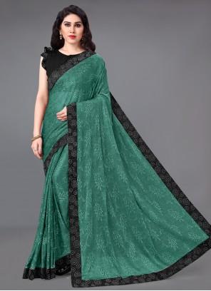 Border Lycra Classic Saree in Green