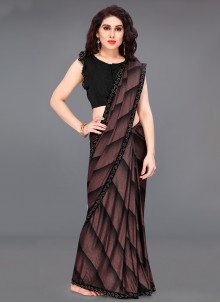 Border Lycra Printed Saree in Black