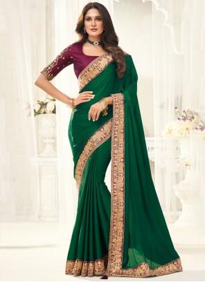 Green Border Party Designer Saree