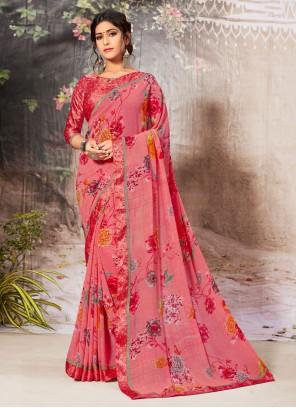 Border Pink Casual Saree