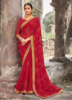 Border Pink Classic Designer Saree