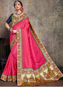 Border Pink Poly Silk Classic Saree