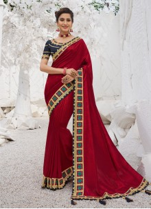 Border Red Traditional Saree