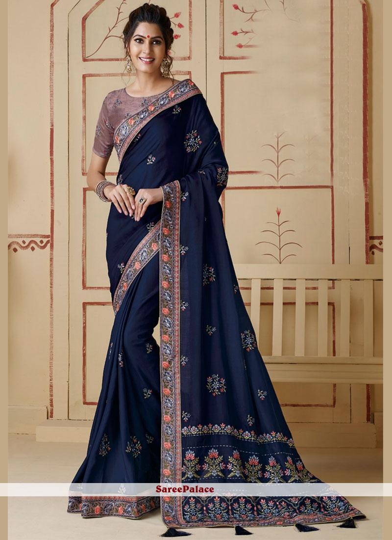 Border Silk Classic Saree in Blue