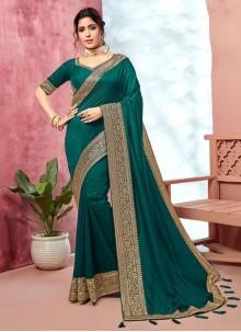 Border Silk Classic Saree in Teal