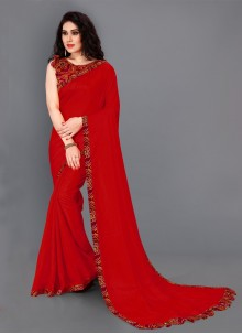 Border Silk Designer Maroon Saree