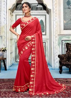 Red Border Work Silk Trendy Saree