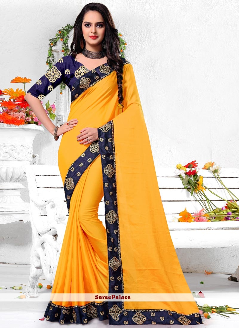 Border Work Yellow Art Silk Trendy Saree