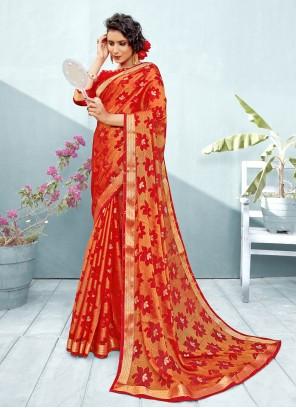 Red Brasso Fancy Trendy Saree