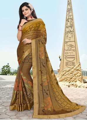 Brasso Printed Brown Traditional Saree