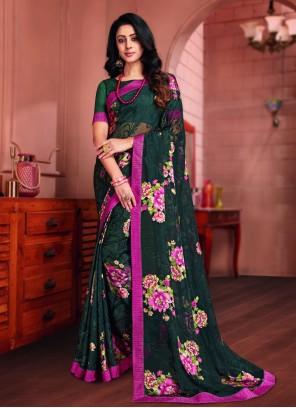 Multi Colour Brasso Printed Saree