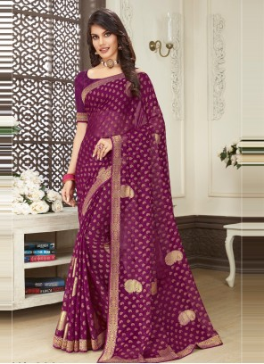 Brasso Purple Print Classic Designer Saree