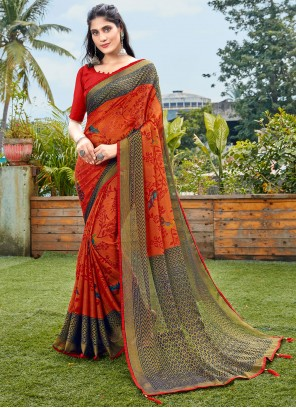 Brasso Red Abstract Printed Saree