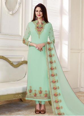 Breathtaking Aqua Blue Faux Georgette Designer Straight Suit