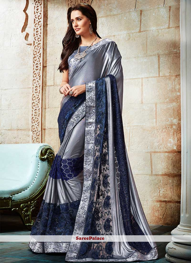 d2e6ff7235 Buy Breathtaking Lycra Grey and Navy Blue Patch Border Work Shaded Saree  Online