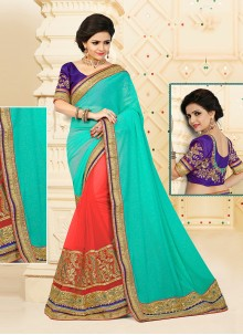 Breathtaking Net Orange Designer Half N Half saree