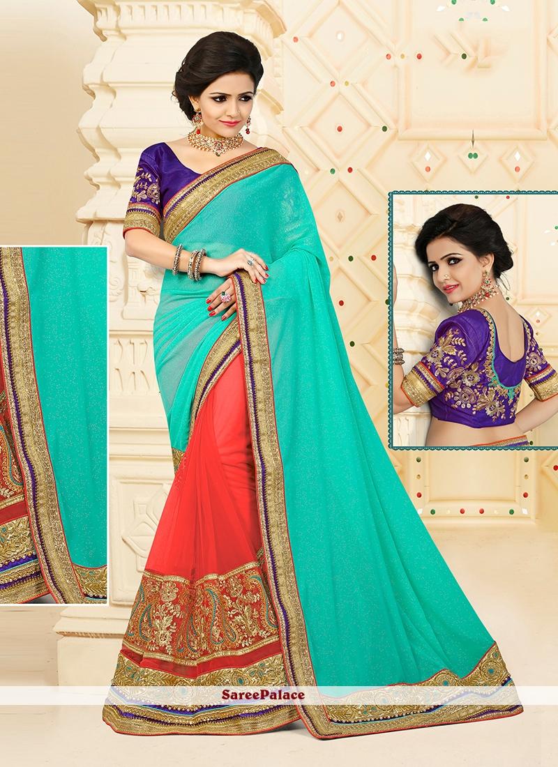 Breathtaking Net Orange Designer Half N Half saree