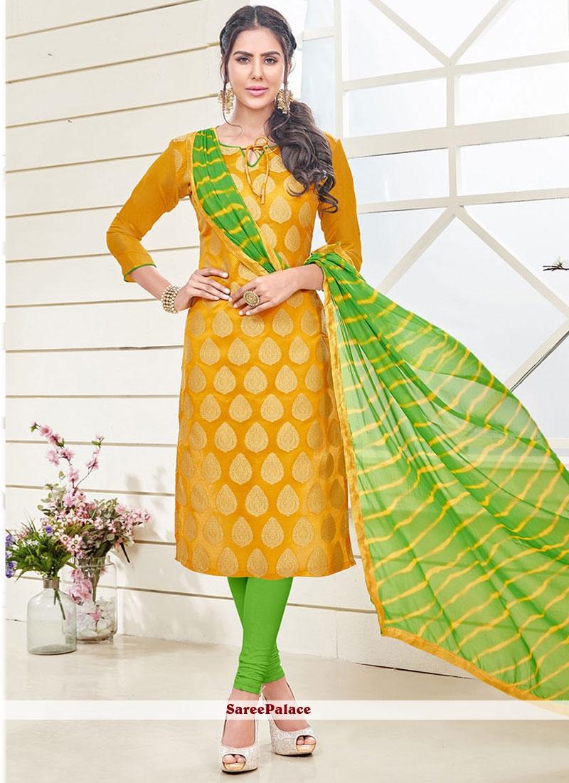 Breathtaking Yellow Churidar Designer Suit