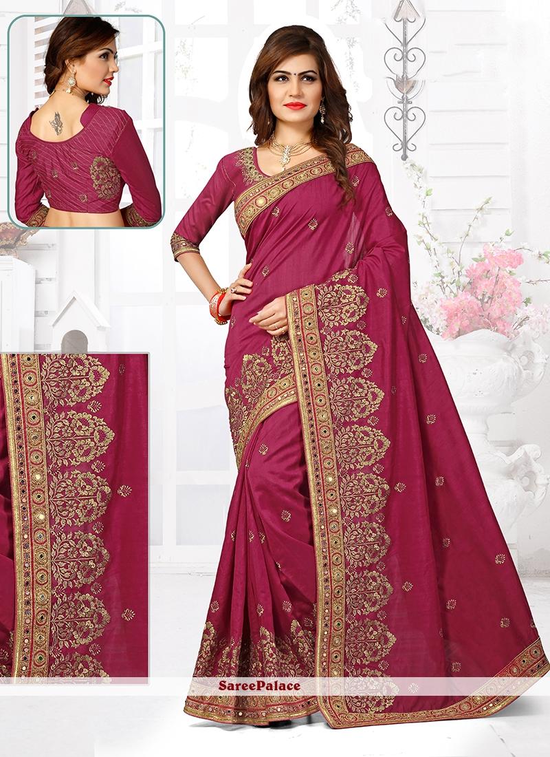 Brilliant Bhagalpuri Silk Magenta Designer Traditional Saree