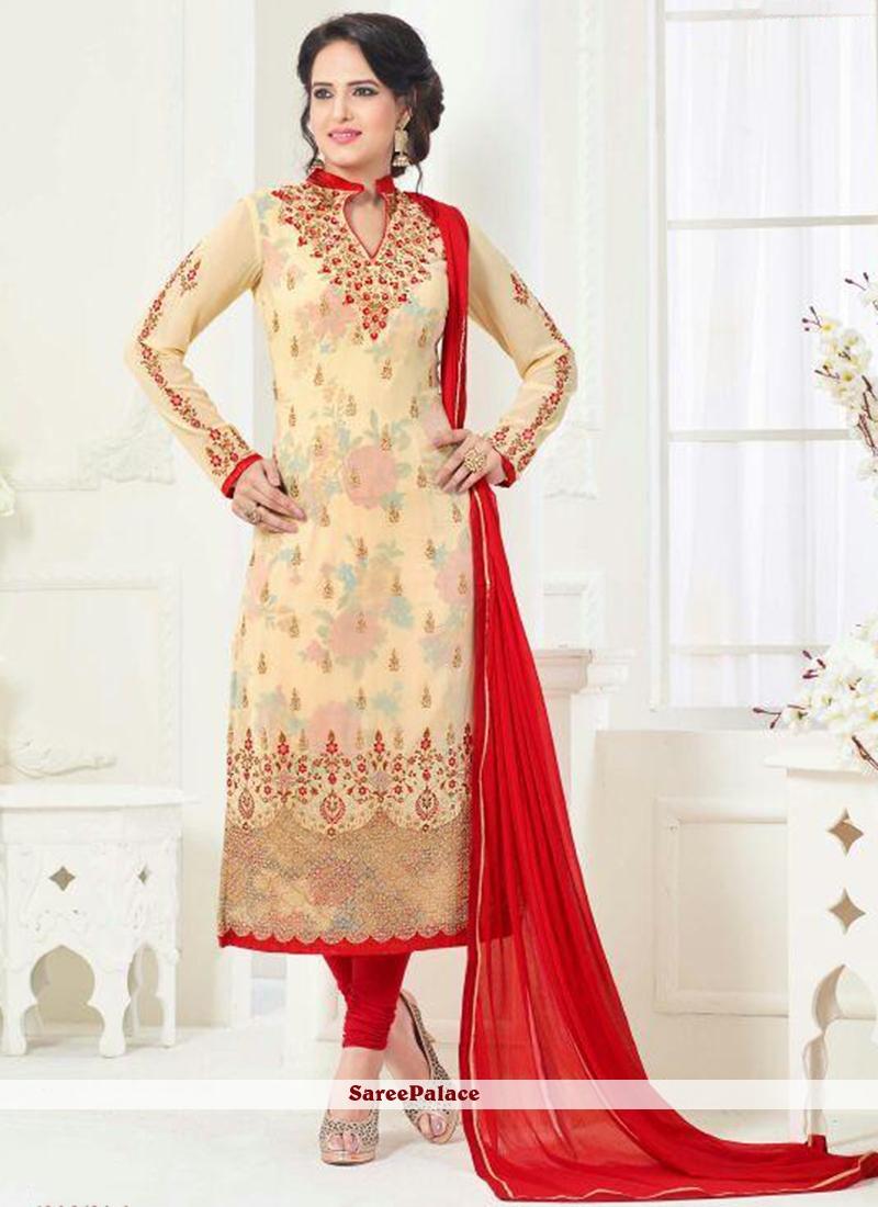 Brilliant Cream and Red Churidar Designer Suit