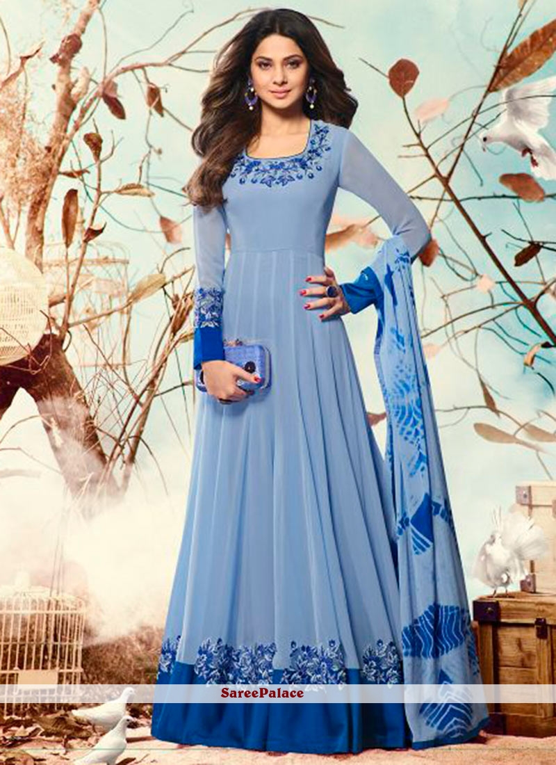 Buy Brilliant Faux Georgette Blue Anarkali Salwar Suit Online