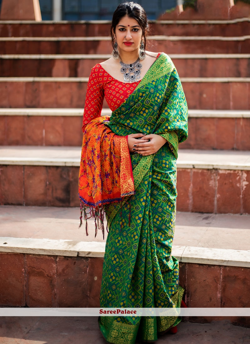4d5797456d7cda Buy Brilliant woven Work Green Patola Silk Traditional Designer Saree Online