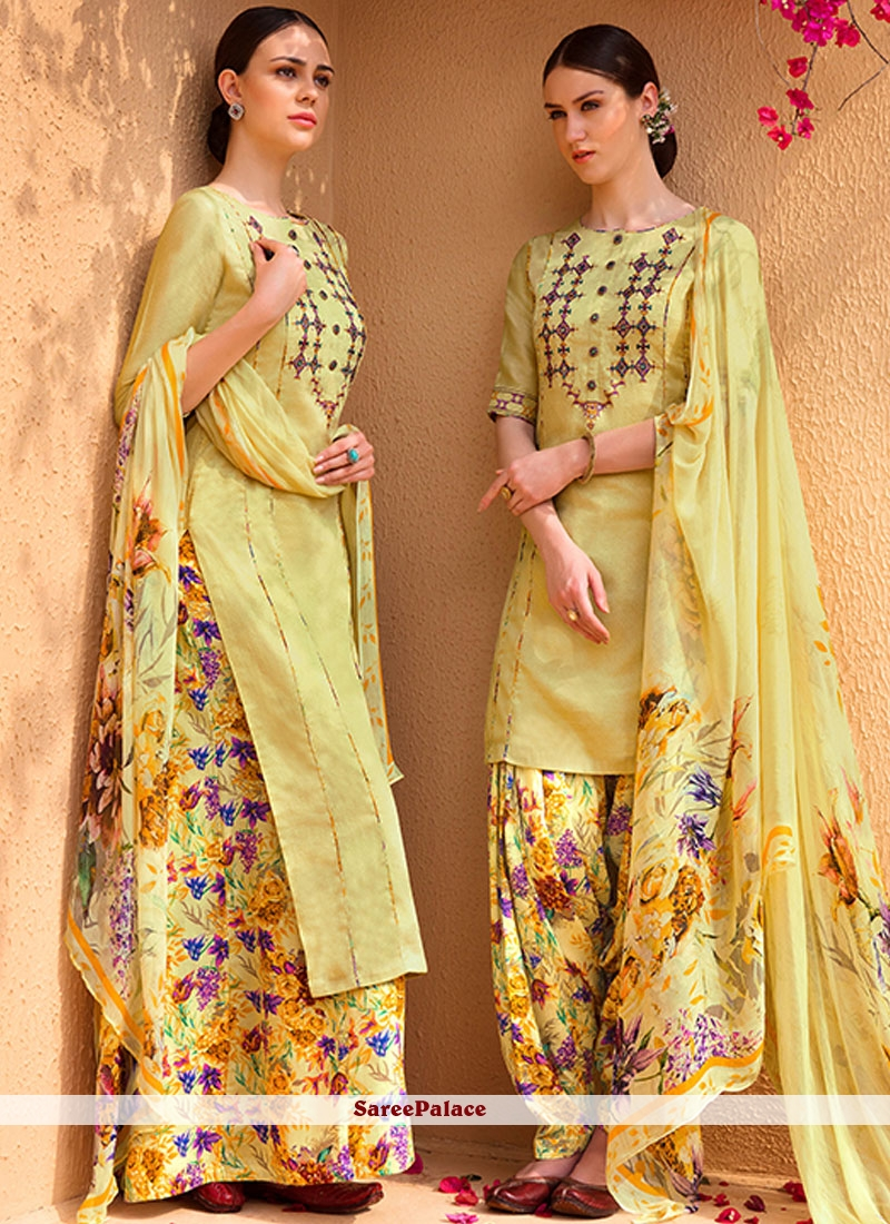 Brilliant Yellow Print Work Cotton Satin Designer Suit