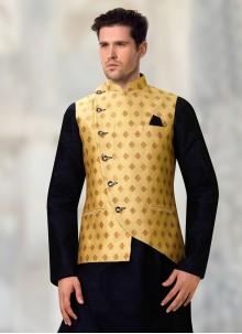Brocade Beige Nehru Jackets