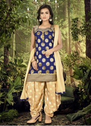 Brocade Blue Lace Designer Patiala Suit