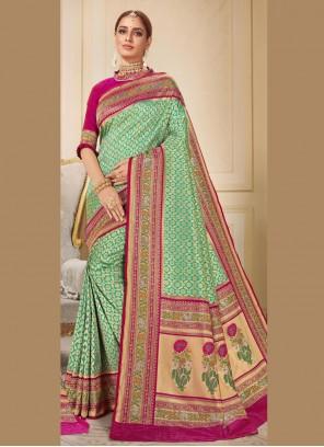 Brocade Green Classic Saree