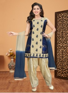 Brocade Navy Blue Designer Patiala Suit