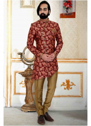 Brocade Embroidered Indo Western in Maroon