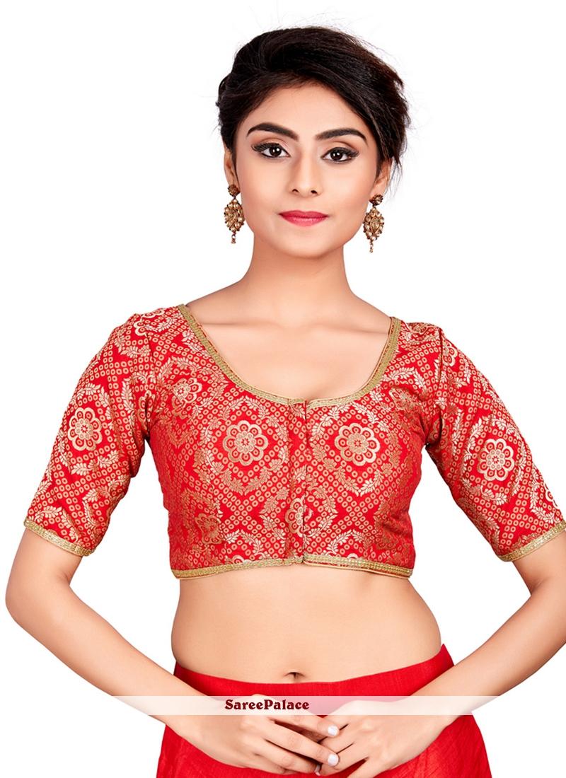2589af22970237 Buy Brocade Machine Embroidery Red Designer Blouse Online