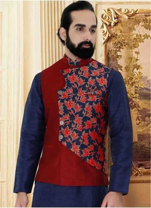 Brocade Nehru Jackets in Maroon and Navy Blue