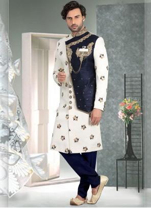 Brocade Off White Weaving Indo Western Sherwani
