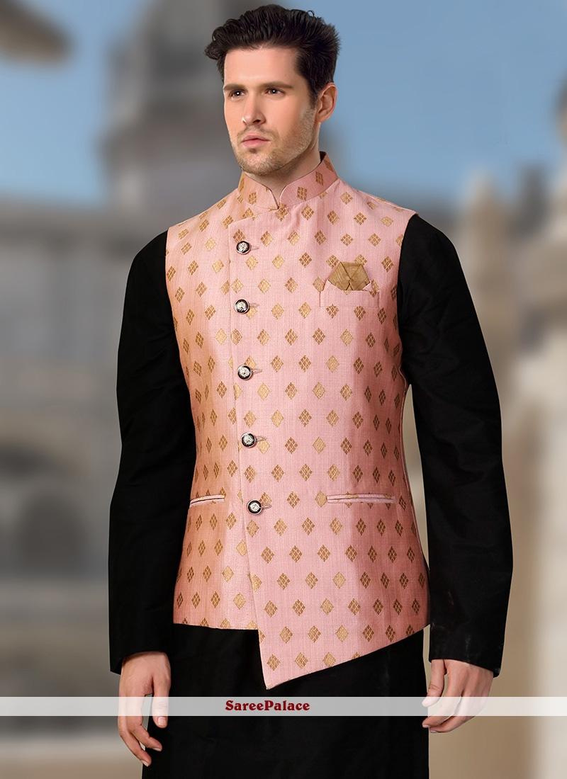 Brocade Pink Nehru Jackets
