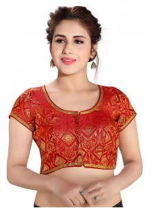 Brocade Printed Blouse in Red