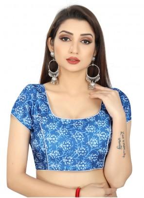 Brocade Printed Designer Blouse in Blue