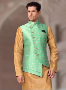 Brocade Sea Green Nehru Jackets