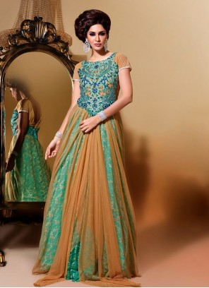 Brown And Aqua Blue Floor Length Net Anarkali Suit