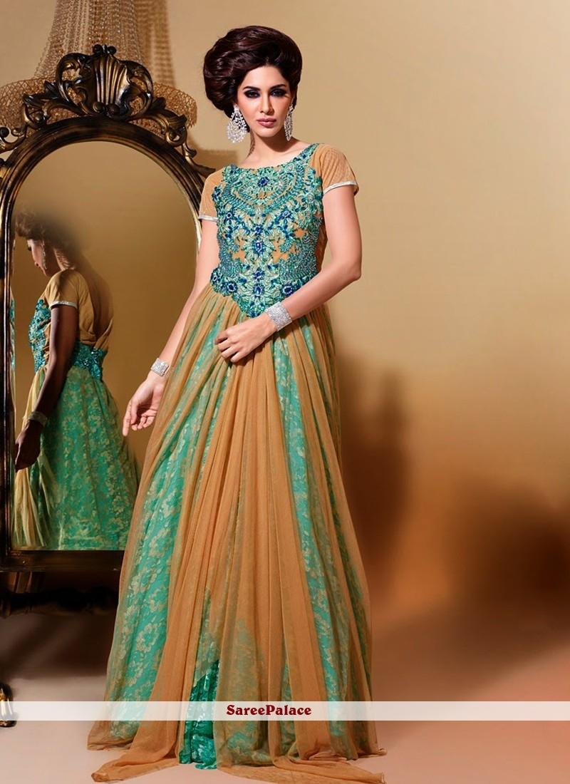Brown And Aqua Blue Floor Length Net Anarkali Suit