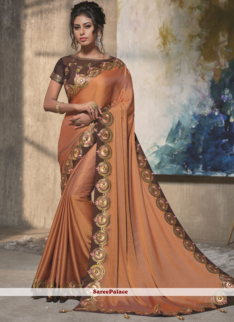 Brown and Orange Embroidered Designer Traditional Saree